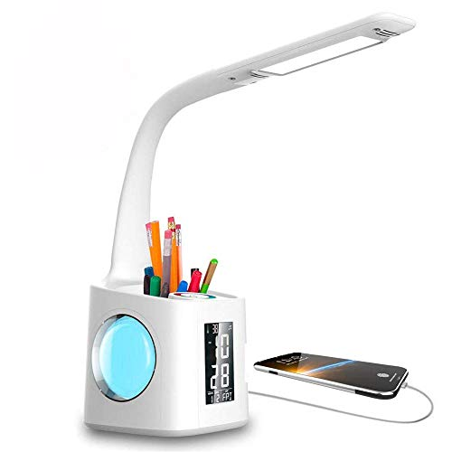 Zentrale Tippen (ZGHOME Schreibtischlampe Dimmbar Stifthalter Nachttischlampe mit Schwanenhals, Tischleuchte mit Touchfeld/LCD Display, Augenschutz Leselampe für Farblicht und 3 Helligkeitsstufen, USB-Anschluss)