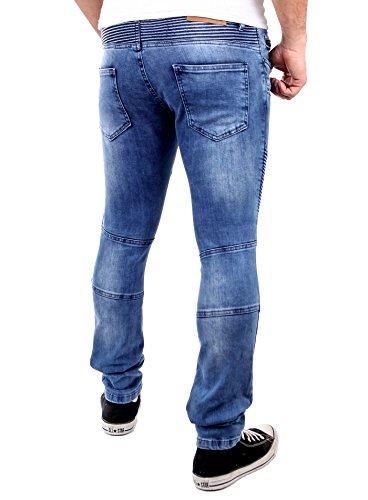 Tazzio Jogg-Jeans Herren Slim Fit Biker Jogging Jeans Hose TZ-522 Blau Blau