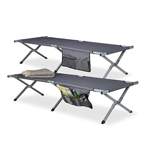 Relaxdays Feldbett faltbar 2er Set XL, Polyester, Campingliege extra hoch, HBT: 190x64x43 cm, Transporttasche, grau