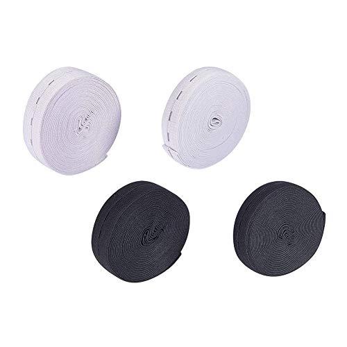 Nbeads 4rotolo di 20mm e 25mm (5m/rotolo) estensori per piatto in gomma elastica in vita con resina 40pcs bottoni, fasce elastiche per cucire bobina band piatto elastico con asole, nero e bianco