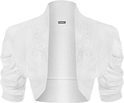 WearAll - Damen Geraffte Achselzucken Kurzarm Strickjacke Bolero Cardigan Top - Weiß - 36-38 (Ärmel Rüschen Cardigan)