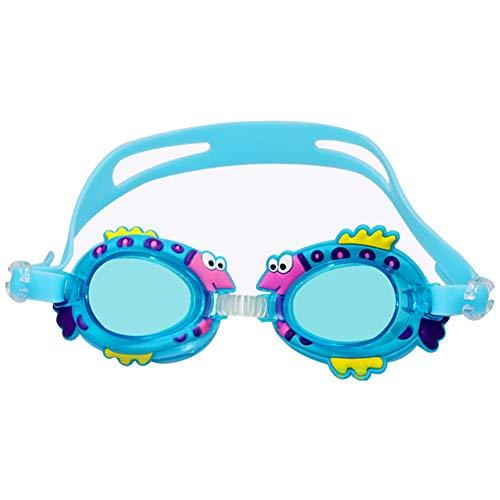 NiceButy Kinder Silikon Schwimmbrille niedlichen Cartoon-Fisch-förmige Brille wasserdichte Anti-Fog-Schutzbrille mit Ohrstöpseln (blau) Outdoor-Sport-Produkte (Tier-schutzbrillen)
