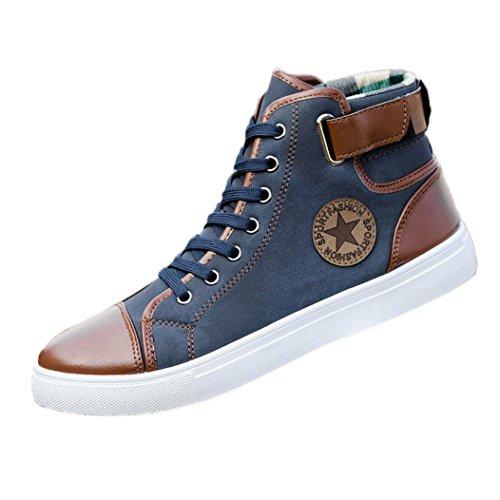 Byste scarpe da uomo e donne, nuovo stile lace-up scarpe di tela moda casuale scarpe alte, confortevole traspirante scarpe basse stivaletti high-top scarpe sneakers (41 eu, blu)