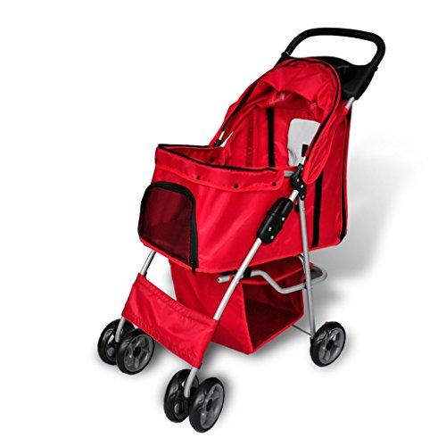 Nuevo Cochecito plegable de mascota perro / gato Color rojo Trolley Transportador Carrito