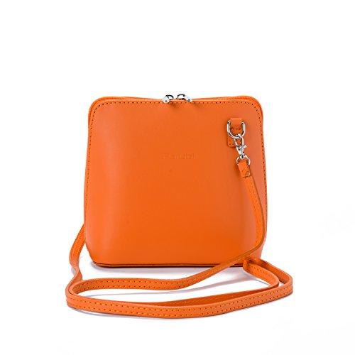 Parubi, Umhängetasche für Damen, aus echtem Leder, Made in Italy, Modell Alina 2.0, kleine Handtasche Schultertasche Ledertasche Abendtasche, Clutch für Damen Mädchen Elegant, Orange -