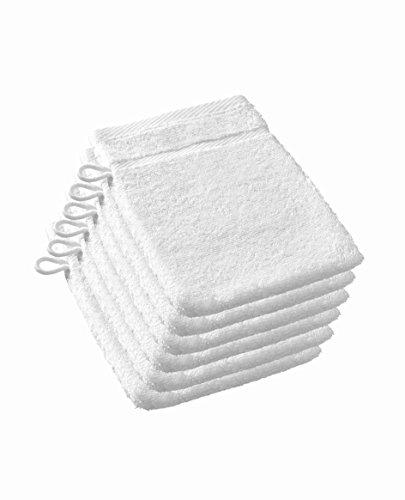 De Witte Lietaer 195308 Luxury Hôtel Gants de Toilette Coton, Blanc, 15 x 22 cm, Lot de 6