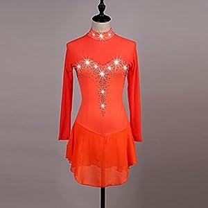 YYDRESS TT&Dress Eiskunstlaufkleid Damen Mädchen Eislaufen Kleider Orange Dunkelblau Strass Hochelastisch Leistung Eiskunstlaufkleidung Handgemacht