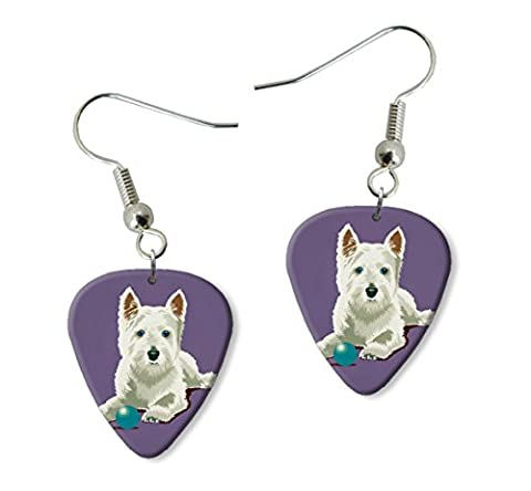 West Highland Terrier Westie Martin Wiscombe Guitare Médiator Pick Boucles d'oreilles Earrings Vintage Retro