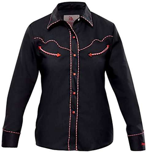 Modestone Women's Long Sleeved Fitted Western Hemd Dotted Piping Black - Panhandle Slim Rock