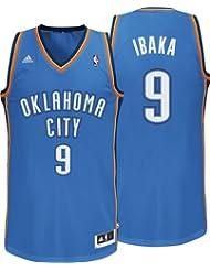 ADIDAS NBA BASKETBALL OKLAHOMA CITY THUNDER REVOLUTION 30 SERGE IBAKA #9 SWINGMAN BASKETBALL JERSEY VEST IN BLUE