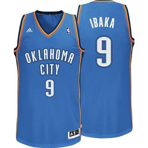 Adidas - Camiseta de Serge Ibaka del equipo de la NBA Oklahoma City (número 9), color azul azul azul Talla:mediano