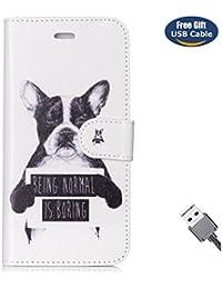 Funda Galaxy S7 Edge,Funda Cover Galaxy S7 Edge,Aireratze Slim Case de Estilo Billetera Carcasa Libro de Cuero,Carcasa PU Leather Con TPU Silicona [Estuche versátil de diseño en 1 en 1] Case Interna Suave [Función de Soporte] [Ranuras para Tarjetas y Billetera] [Cierre Magnético] para Samsung Galaxy S7 Edge (Perro) (+ Cable USB)