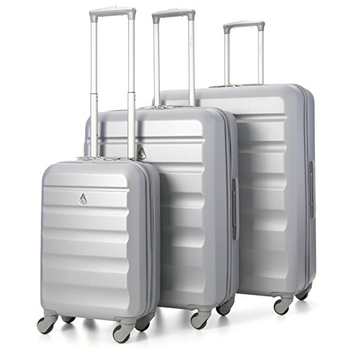 Aerolite Super Lightweight 3 Piece ABS Hard Shell Travel Suitcase Luggage Set with 4 Wheels (Argent)