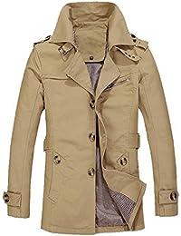 Malloom® Veste Chaude Manteau d hiver pour Homme Slim Long Trench Buttons  Manteau 18d2146efe9