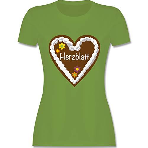 Oktoberfest Damen - Lebkuchenherz Herzblatt - S - Hellgrün - L191 - Damen T-Shirt Rundhals