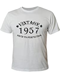 Mister Merchandise Homme Chemise Tee T-Shirt 57 58 Vintage 1957 Aged To Perfection Jahre Geburtstag Years , Size: XL, Color: Blanc