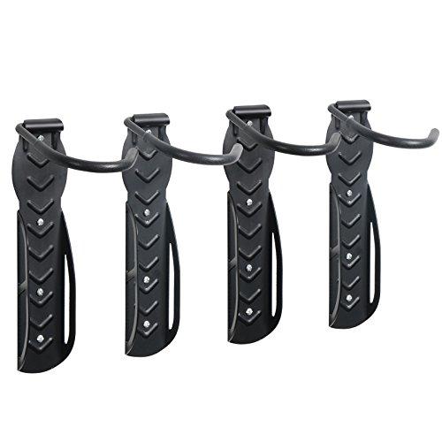 Woltu FZ1131-2 4x Portabici a Parete, Uno Supporto Gancio da Muro per 1 Biciclette, Bike Hanger Rastrelliera in Ferro Nero 4 Pezzi