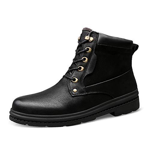 HILOTU Stivale da Lavoro alla Caviglia da Uomo Casual Morbido e Leggero Felpato Invernale all'Interno di Stivali da Moto Alti e Caldi (Color : Nero, Dimensione : 46 EU)