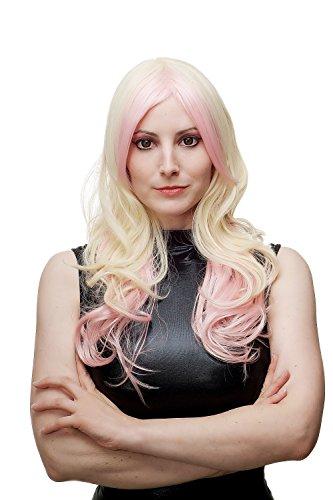 WIG ME UP – Extravagant & Sexy Damenperücke Perücke Cosplay Platin Vanille Blond Rosa Mix lang (Platin Perücken)