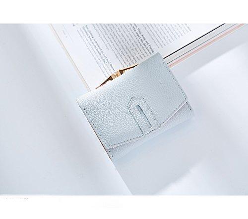 Portafogli Donna - Borse in Pelle di Cuoio dell'unità di Elaborazione Borse Portafogli delle donne di Supporto della Borsa Portafoglio a Fibbia a Pochette Corto (Leggero Blu) Leggero Blu