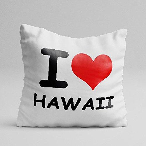 Personalisierte Kissen aus Baumwolle I Love Hawaii Ich liebe meine Citta 'I Love My City Idee Geschenk