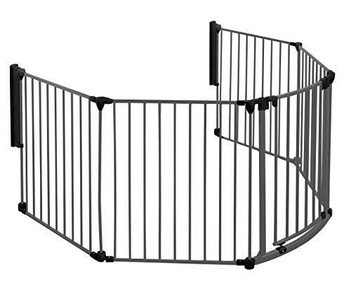 Original IMPAG® Kaminschutzgitter Rondo | 190-310 cm | Automatik-Tür | 90° Feststell-Funktion | Einhandbedienung | (7-tlg. Schwarz)
