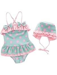 ARAUS Niñas Traje de Baño Tres Piezas para Niña Cuello Halter para Bebé  Bikini Bañador Mameluco 43891812ef0
