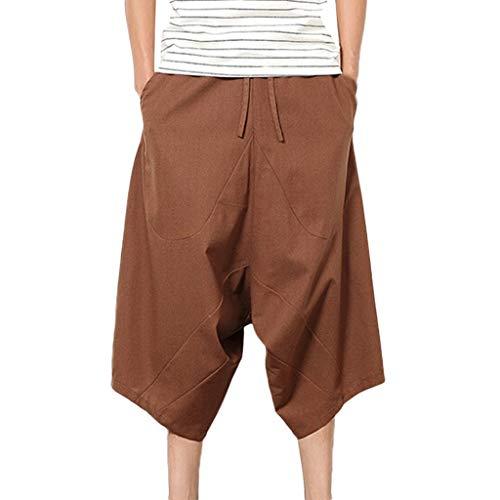 MakefortuneHerren Patchwork Shorts Baggy Capri Hose Loose Fit Leinen Freizeithose mit Taschen Wine Beige Black Navy (Indische Decke Jacke)