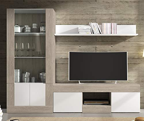 Miroytengo Pack Muebles modulares Karla salón Comedor Moderno (Mesa TV + Vitrina Alta + Estante)