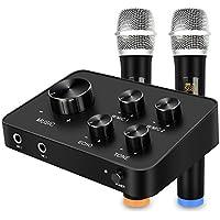 Conjunto de sistema de mezclador de micrófono de karaoke portátil, con micrófono inalámbrico dual UHF, entrada y salida HDMI y AUX para karaoke, Cine en casa, Amplificador, Altavoz