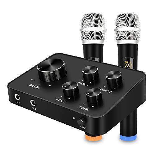 Tragbare Karaoke Mikrofon Mixer System Set, mit Dual UHF Wireless Mic, HDMI und AUX In/Out für Karaoke, Heimkino, Verstärker, Lautsprecher