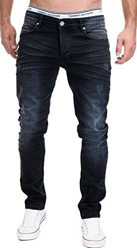 MERISH Stretch Jeans Designer 5-Pocket Used Denim Herren Slim Fit j3014 Schwarz