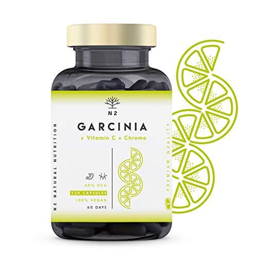 Garcinia Cambogia Extra Forte Pura, Vitamina C Cromo HCA 60%. Brucia Grassi Naturale Termogenico Soppressore dell'appetito Dimagrante.120 Capsule Vegetali Certificato VEGANO.CE.N2 Natural Nutrition