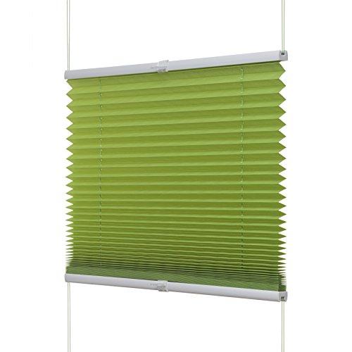 VENTANARA Plissee grün: 60x130 cm (Gesamtbreite X Höhe in cm) / Plissee Klemmfix Faltstore Faltrollo verspannt ohne bohren inkl. Klemmträger / weitere Größen: 45 / 60 / 65 / 70 / 75 / 80 / 90 / 100 x 130 oder 220 cm