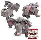 Dika Toys Plüschtier Elefant mit Sparschwein Funktion Sound + Bewegung