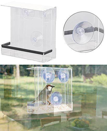 Royal Gardineer Futterhäuschen: Vogel-Futterhaus aus Acryl mit 2 Futtersilos, Saugnapf-Befestigung (Transparente Vogel Futterhäuser)