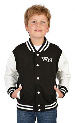 USA Collegejacke für Jungen mit persönlichen Initialien in schwarz - Kinder Jacke Schule Freizeit Geschenk, Kinder Größe:XL / 152