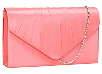 Chantel Abby Satin Envelope Style Womens Party Prom Wedding Clutch Bag Purse -- SWANKYSWANS