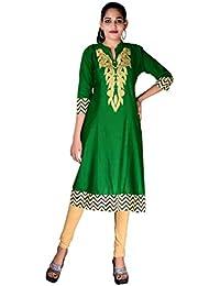 BLUEPOCKET Anarkali Kurti/Kurta for women(Cotton, Embroidered, Green)