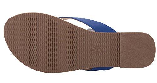 abusa simple classique en cuir de femmes Tongs Bleu - noir foncé