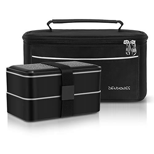 Simboom Lunchbox Bento Box mit Kühltasche Isoliertasche, 2 Fächer Bentobox Auslaufsicher, Spülmaschinenfest Mikrowellenfest mit Besteckset, Schwarz