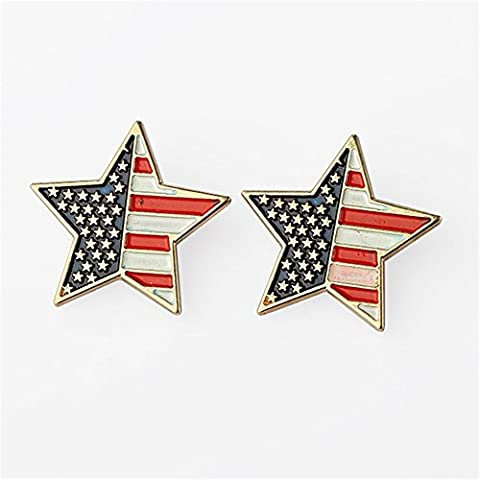 MGS Women's Men's Lapel Pin Brooch Down Collar Tips Stars & Stripes USA American Flag Copper Gold Suit Shirt Wedding Gift