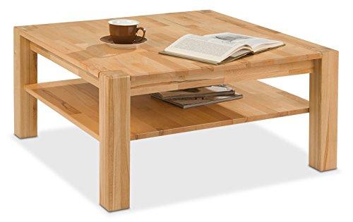 Home4You Couchtisch Sofatisch Wohnzimmertisch | Quadratisch 90x90 cm | Braun | Kernbuche massiv lackiert | mit Ablagefläche