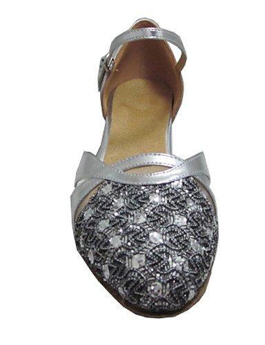 ShangYi Maßgefertigter Absatz - Kunstleder/Glitter - Standard-Tanz Schuhe - Damen Silver