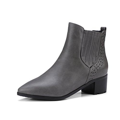 ff38b63e7d01b DYF Chaussures Bottes courtes grande taille couleur solide rude creux talon  pointu