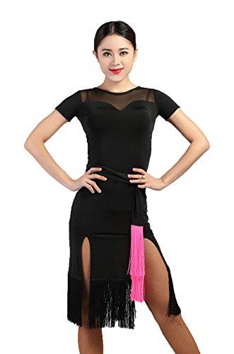 G3012 Latin Tanz Garn-verbundene Seiten-Spaltung Quaste Kleider angeboten von GloriaDance (black, x-large) (Waltz Kurzarm-kleid)