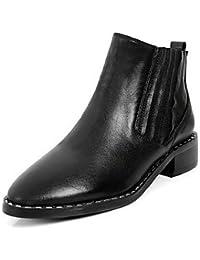 RTRY Zapatos De Mujer Cuero Auténtico Confort Invierno Botas De Moda Botas De Tacón Bajo De Bota De Puntera Redonda...