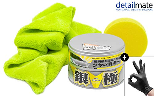 detailmate Wachs Set: Soft99 Extreme Gloss Wax The Kiwami Light, Carnauba Autowachs Lackversiegelung mit Schwamm, 200g, Ultra Flauschiges Mikrofaser Poliertuch 550 GSM, 2 Nitril Schutzhandschuhe