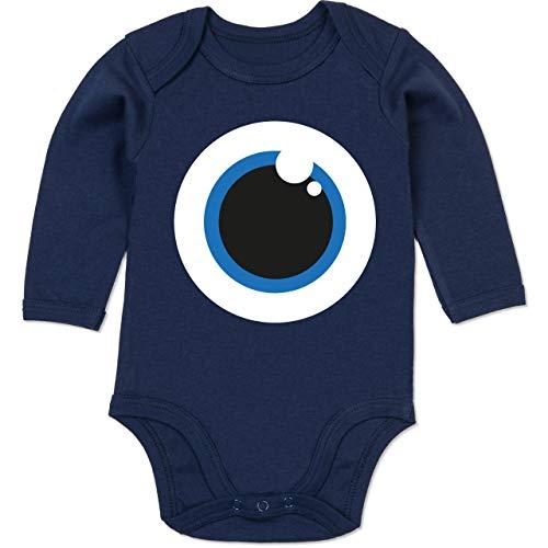 Shirtracer Karneval und Fasching Baby - Auge Kostüm blau - 6-12 Monate - Navy Blau - BZ30 - Baby Body Langarm (Linken Auge Kostüme)