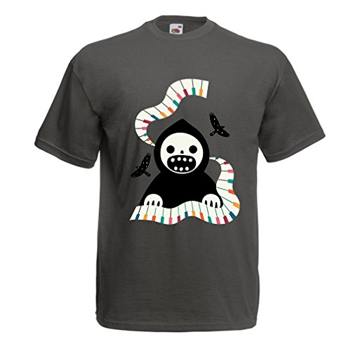 hirt Halloween Horror Nights - The Death is Playing On Piano - Cool Scarry Design (XXX-Large Graphit Mehrfarben) (31. Oktober 2017 Halloween)